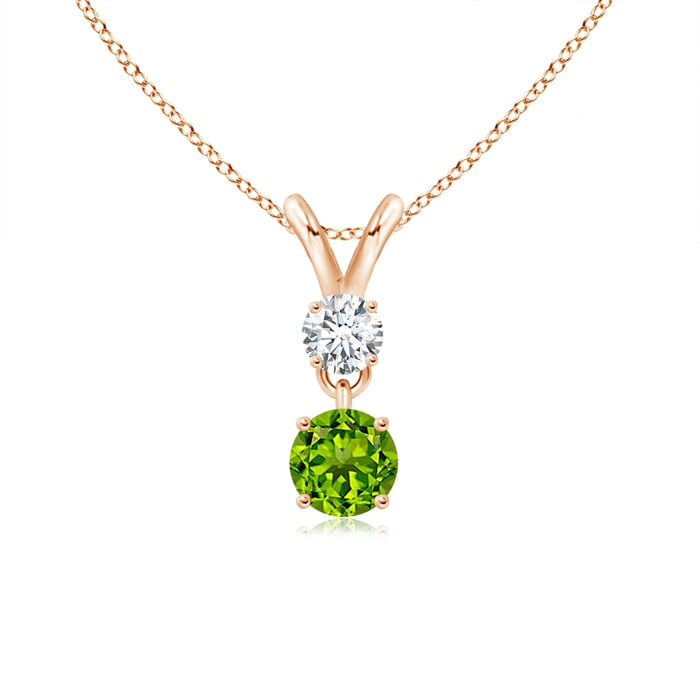 Rose gold gemstone necklace 14k rose gold necklace with green peridot stones