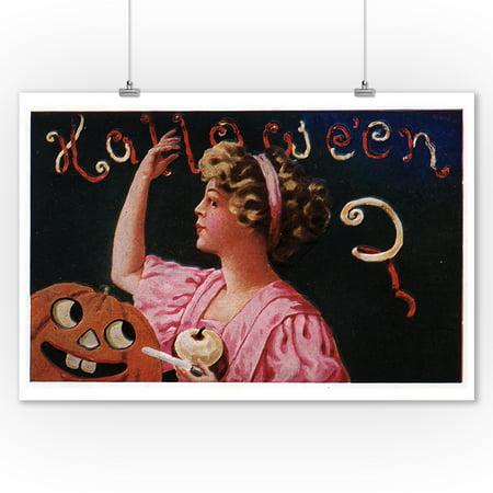 Halloween Greeting - Jack-O-Lantern by Woman Peeling Apple (9x12 Art Print, Wall Decor Travel Poster)