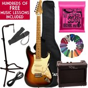 Learn To Play Sawtooth Vintage Sunburst Electric Guitar with Amp, Ernie Ball Strings, and Chromacast Stand, Picks, Cable, Strap, Case, and Free Music Lessons