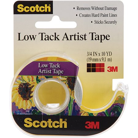 3M Scotch Low Tack Artist Tape: Natural, 0.75in x