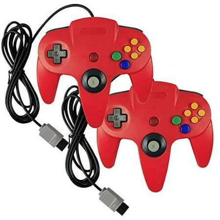 Nintendo 64 N64 Box - Lot Of 2 Pack Classic Wired Controllers For Nintendo 64 N64 In Red