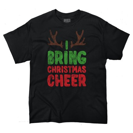 Bring Cheer Reindeer Ugly Christmas Sweater Funny Gift Ideas T-Shirt Tee by Brisco Brands ()