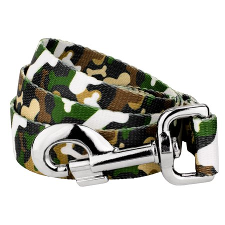 Country Brook Petz® 1 Inch Woodland Bone Camo Dog Leash - 6 Foot