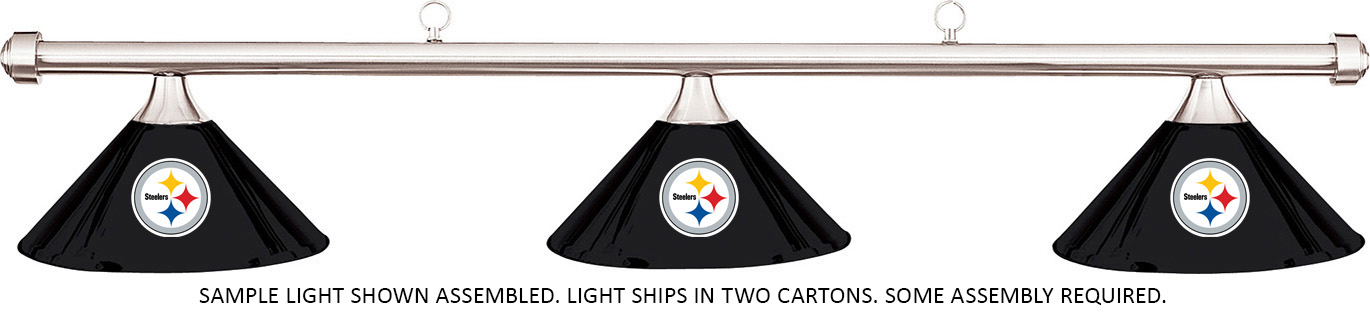 NFL Pittsburgh Steelers Black Metal Shade/Chrome Bar Billiard Pool Table  Light