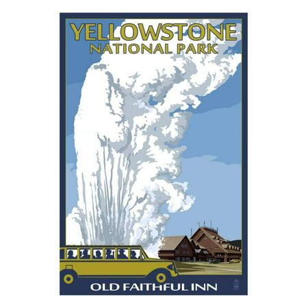 Old Faithful Lodge and Bus - Yellowstone National Park Print Wall Art By Lantern (Old Faithful Vanity)