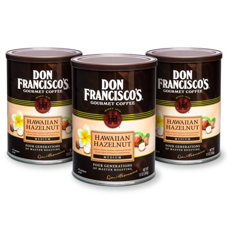 Don Francisco's Hawaiian Hazelnut, Medium Roast, Ground Coffee, 12 oz. (Pack of 3) (Hazelnut Roasted Coffee)