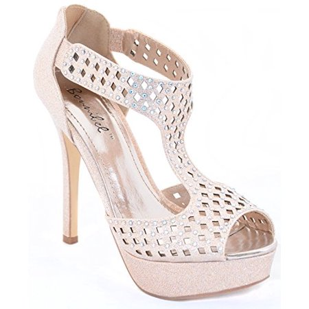 c5ae01568 Jeweled Iridescent Glitter Open Toe Platform Party Heels Pump Sandals -  Walmart.com