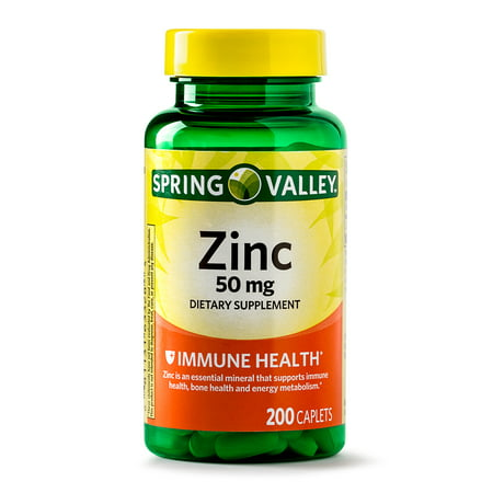 (2 Pack) Spring Valley Zinc Caplets, 50 mg, 200 Ct
