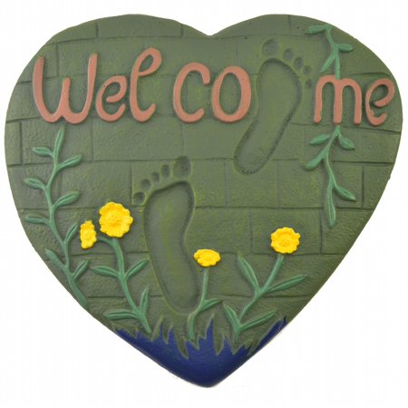 - Heart & Foot Prints Welcome Plaque Stepping Stone - Green Cast Iron - 13.13