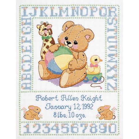 Stamped Cross Stitch Kit, Bear Birth Sampler By Janlynn Ship from US (Janlynn Bear)