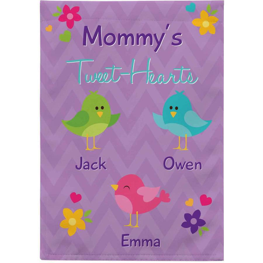 Personalized Her Tweethearts Garden Flag, Available with or without Stake