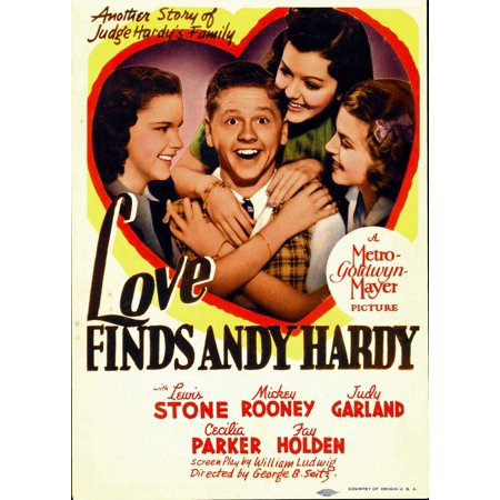 Love Finds Andy Hardy From Left Judy Garland Mickey Rooney Ann Rutherford Lana Turner On Midget Window Card 1938 Movie Poster Masterprint