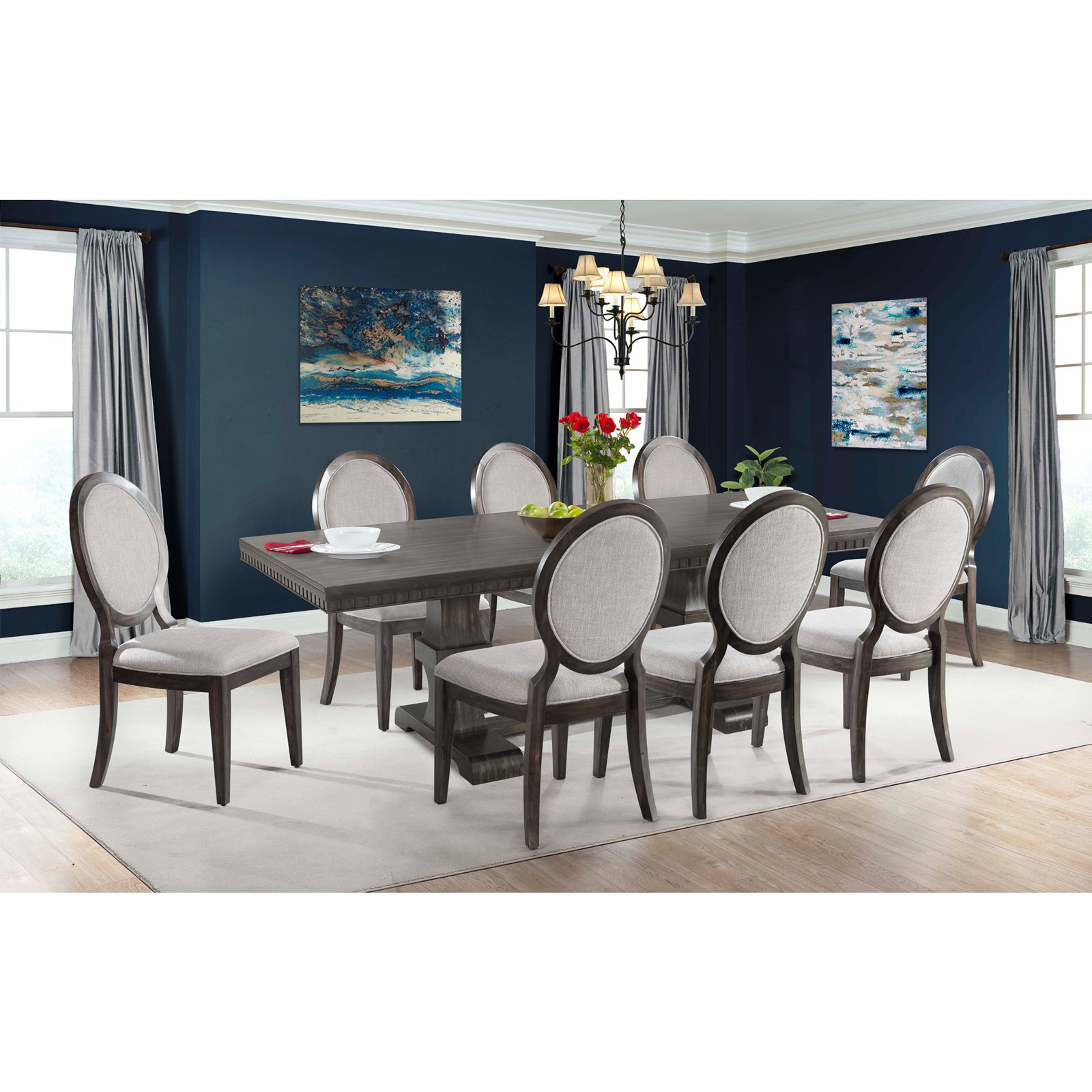Picket House Furnishings Steele 9 Piece Extension Dining Table Set with Round Back Chairs
