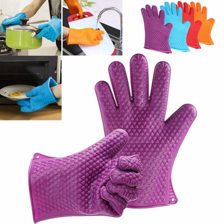 Silicone Heat Resistant Gloves BBQ Grilling Oven Mitts Pot Holders For Cooking Baking Kitchen, A Pair