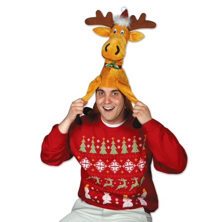 13' Fusion Hi Hat - Beistle Christmas Funny Moose Plush One Size 13