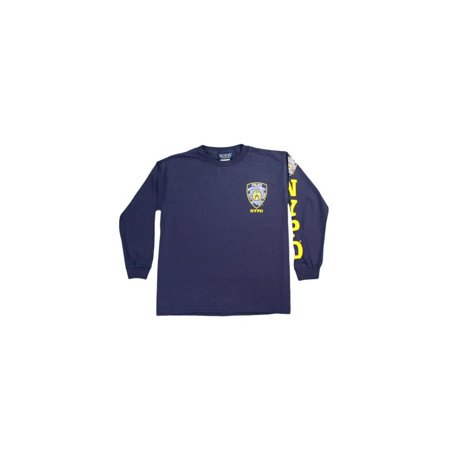 Screen Printed Chest - NYPD Kids Long Sleeve Screen Print Chest Badge T-Shirt Navy Yellow Large (14-16)