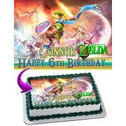 The Legend of Zelda Edible Cake Topper Personalized Birthday 1/4 Sheet Decoration Custom Sheet Birthday Frosting Transfer Fondant Image
