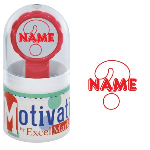 Motivations Pre-inked Teacher Stamp - Name (Big Question Mark) - Red