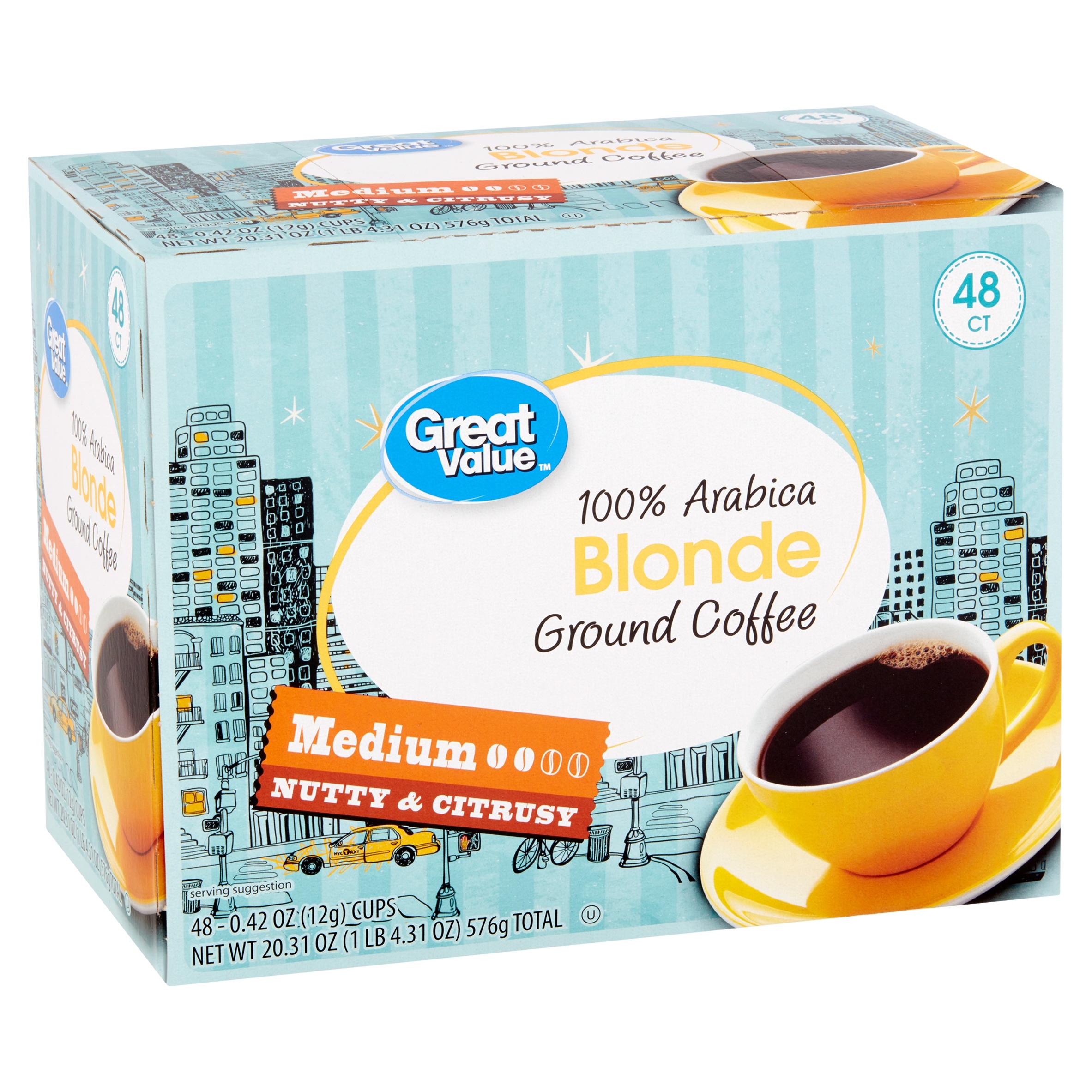 Great Value 100% Arabica Blonde Medium Ground Coffee, 0.42 oz, 48 count