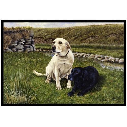 Yellow and Black Labradors Doormat by Caroline's Treasures