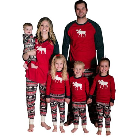 Zxzy Matching Family Pajamas Sets Christmas Deer Printing Family Fitted Suit Sleepwear