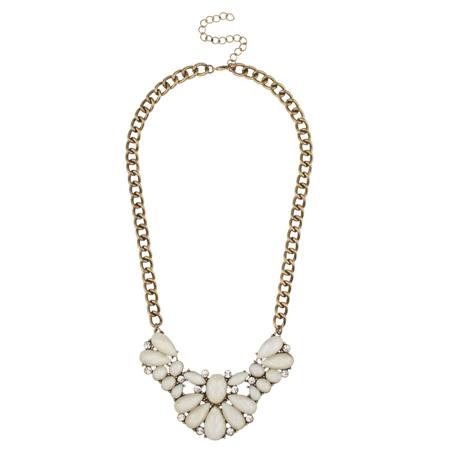 Lux Accessories White Stone Crystal Bib Statement Necklace Crystal Bib Statement Necklace