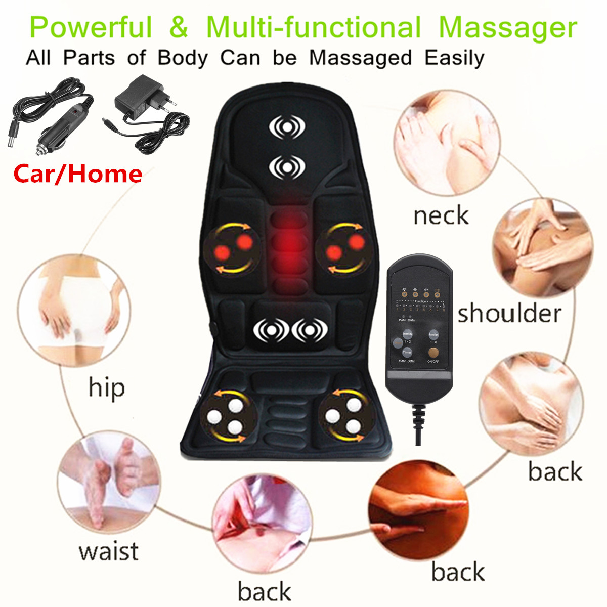 8 Mode 3 Intensity Car Chair Heat Full Body Infrared Massager Mat Pad Seat Cushion for Body Relief,Upper Lower Back, Hips, Lumbar Legs with Heat Therapy For Car Household Office