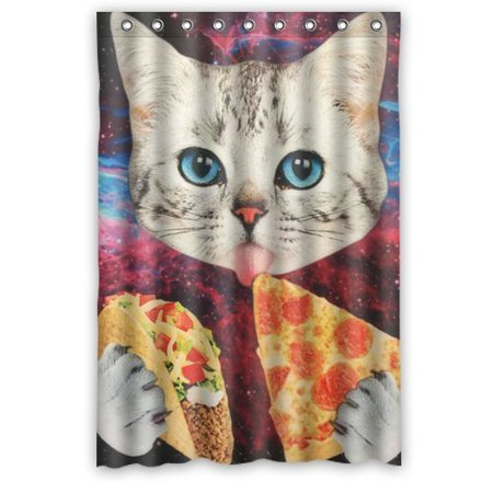 Mohome eating pizza space cat treasuring design shower for Space kitty fabric