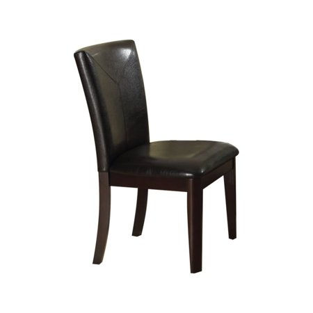 Benzara Wooden Side Chair with Leatherette Upholstery, Set of 2, Black and