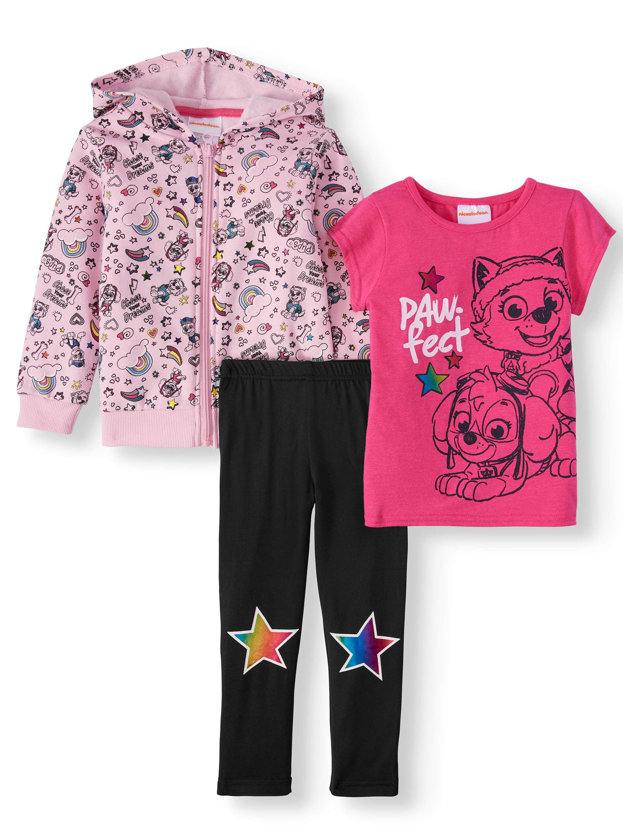 NEW Toddler Girls 2pc Outfit 4T Shirt Pants Stretch Set Workout Athletic Awesome