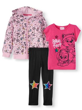 Paw Patrol Toddler Girls Hoodie, T-Shirt and Leggings, 3-Piece Set