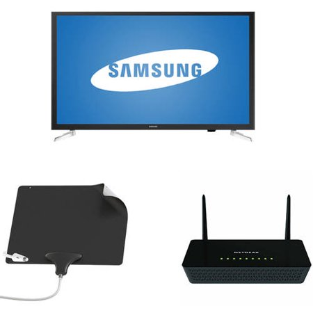 Samsung 32; 1080p LED HDTV, NETGEAR Wifi Router, Mohu Leaf Ultimate Bundle – Cut the Cable