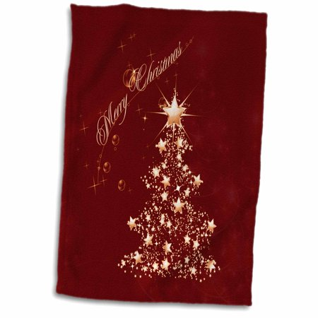 Christmas Sports Background.3drose Golden Christmas Tree And Stars On A Red Background Towel 15 By 22 Inch