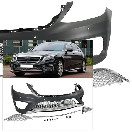 Complete Front Bumper Kit 2014-2017 Mercedes S Class AMG Style Chrome Trim W222