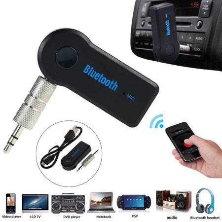 Wireless Bluetooth 3.5mm Car Aux Audio Stereo Music Receiver Adapter with Mic For PC Version