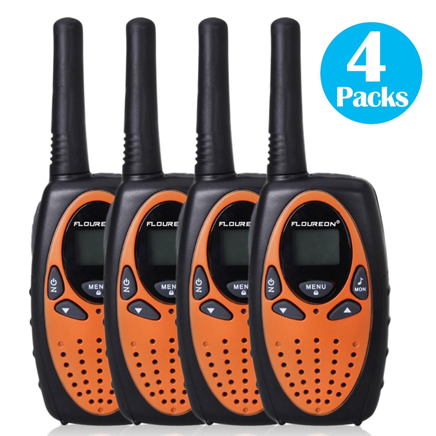 FLOUREON 22 Channel 4 Pack UHF462-467MHz Two-Way Radios 3KM Interphone Walkie Talkie 0range US