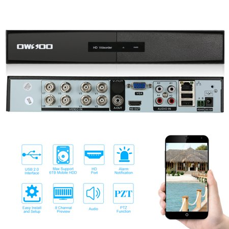 OWSOO 8CH H.264 AHD 1080P P2P Network DVR CCTV Security Support for Android/IOS APP Control Motion Detection Onvif DVR 5IN1 PTZ for CCTV Security Camera Surveillance System