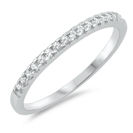 Clear Cubic Zirconia Half Way Stackable Ring Sterling Silver Size
