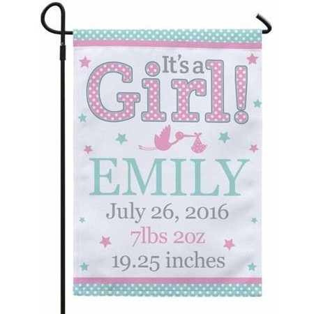 Personalized New Baby Announcement Garden Flag with Stake, Girl