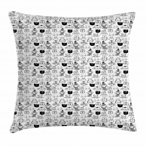 Kids Throw Pillow Cushion Cover, Comic Doodle Cat Faces with Scarf Hipster Hats Crown Childish Caricature Art, Decorative Square Accent Pillow Case, 16 X 16 Inches, Black and White, by Ambesonne