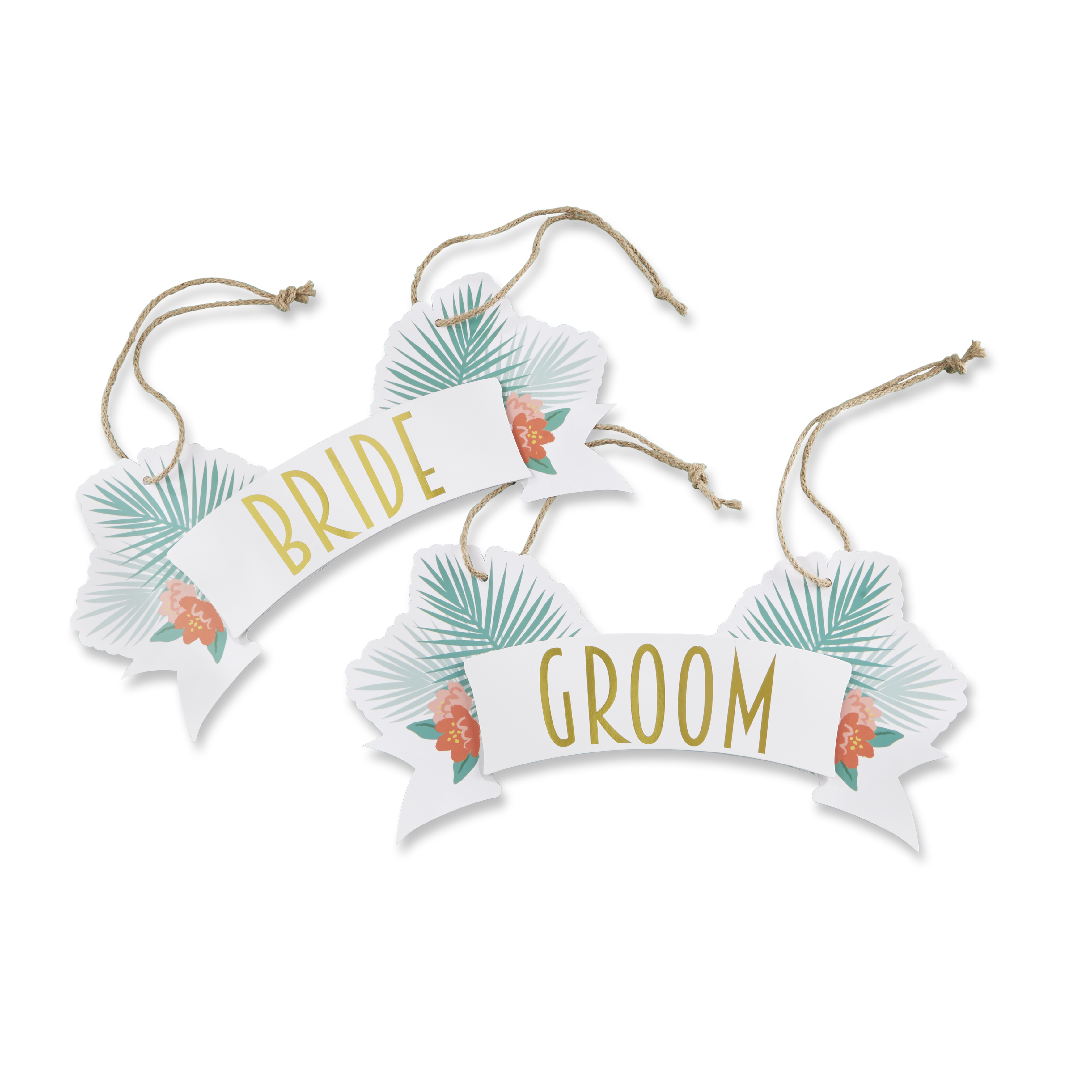 Tropical Chic Bride and Groom Chair Signs