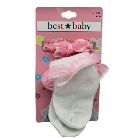 Best Baby Pink Ribbon Hemming Toddler Socks and Pig/Ponytail Bow (1