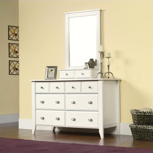 Sauder Shoal Creek  Dresser and Mirror Set in Soft White