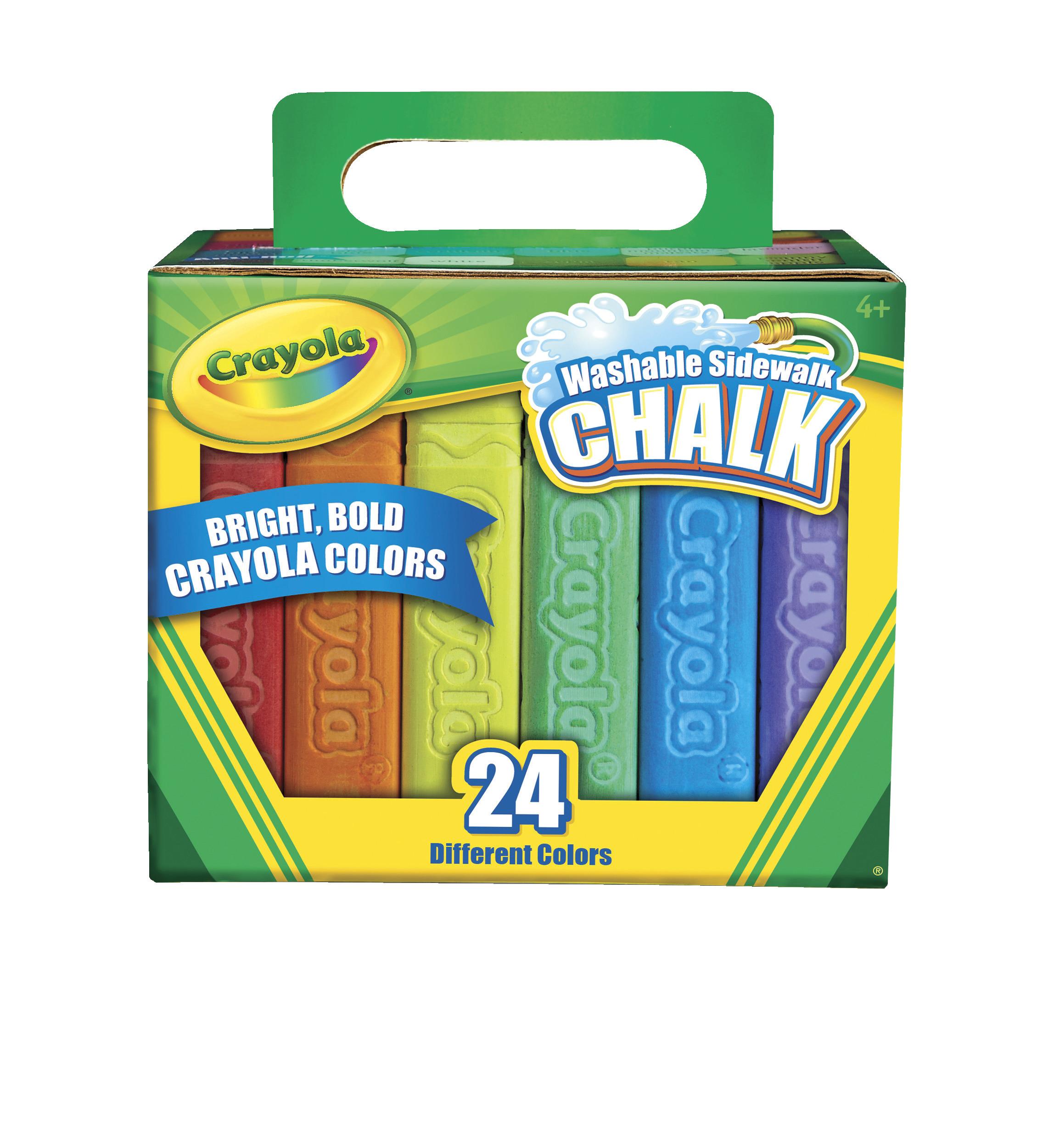 Crayola 24 Count Washable Non-Toxic Anti-Roll Sidewalk Chalk in ...