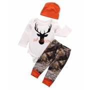 Newborn Baby Boy Girl Deer Romper Wildlife Pants Hat 3pcs Outfits Set Clothes Christmas Gifts
