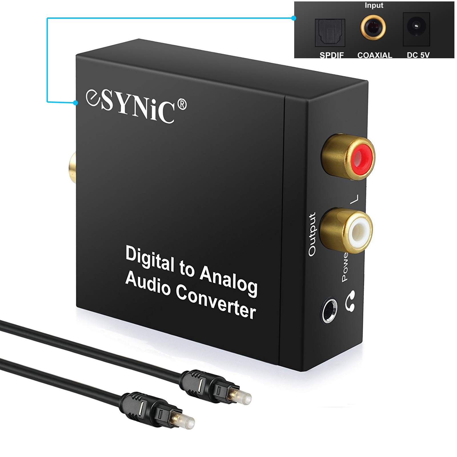 ESYNIC Toslink Signal Optical Coaxial Digital to Analog Audio Converter Adapter RCA L/R with Fiber Cable for HDTV XBox PS3 Blu-ray Player