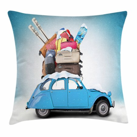 Winter Throw Pillow Cushion Cover, Traveling Themed Snowy Image Ski Baggage Items Blue Vintage Car Holiday Photograph, Decorative Square Accent Pillow Case, 18 X 18 Inches, Multicolor, by - Holiday Items