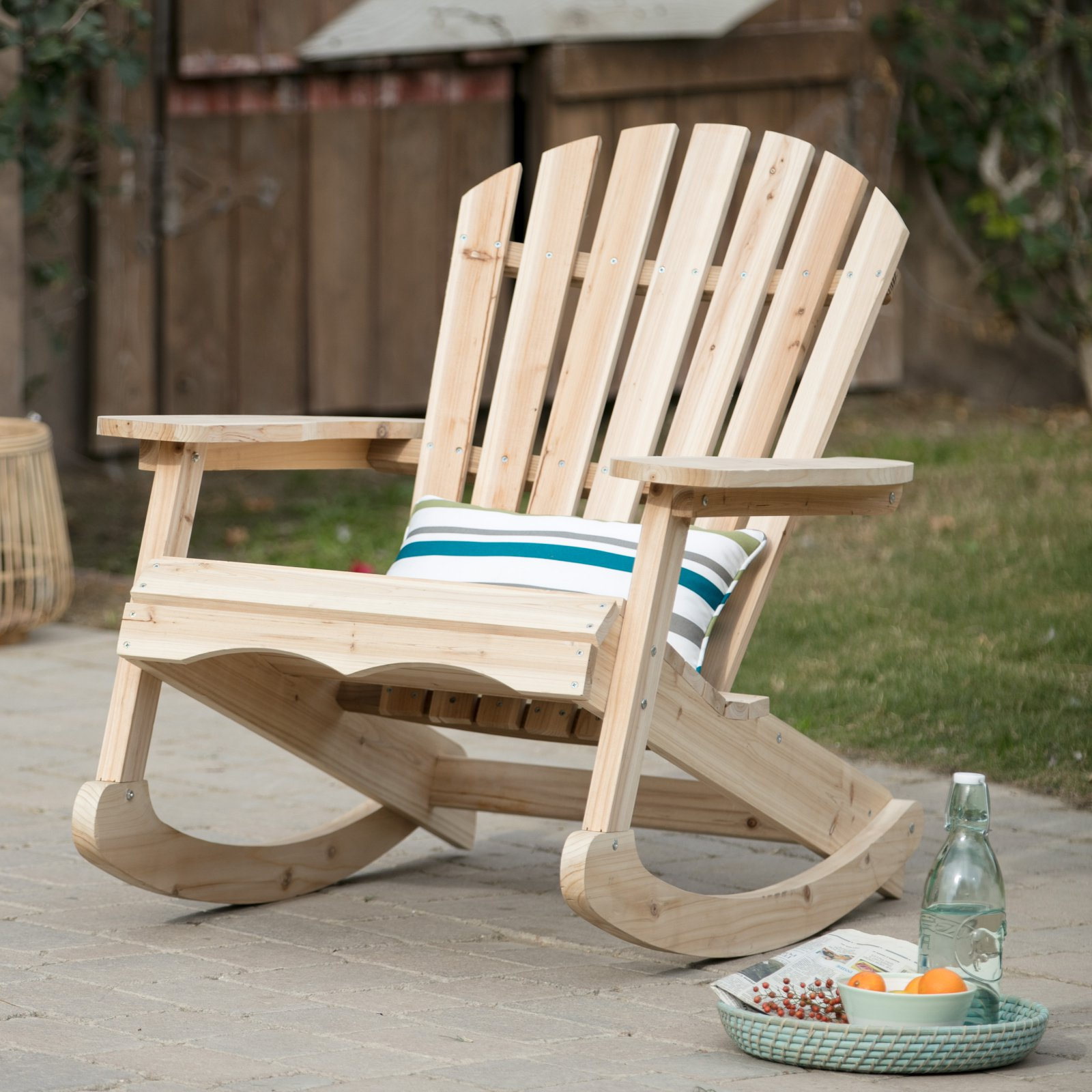 Coral Coast Outdoor Adirondack Rocking Chair Unfinished by