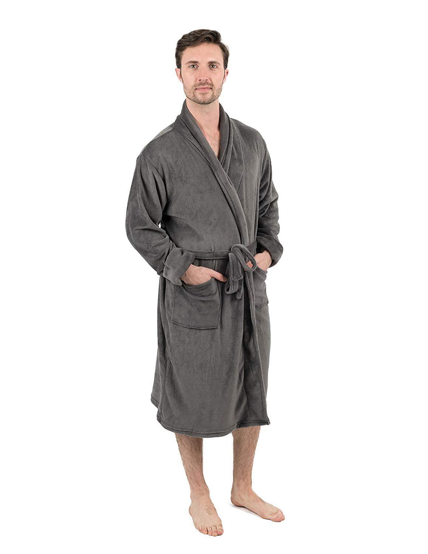Leveret Leveret Mens Robe Soft Micro Fleece Plush Shawl Collar Bathrobe Grey Size L Xl Walmart Com Walmart Com