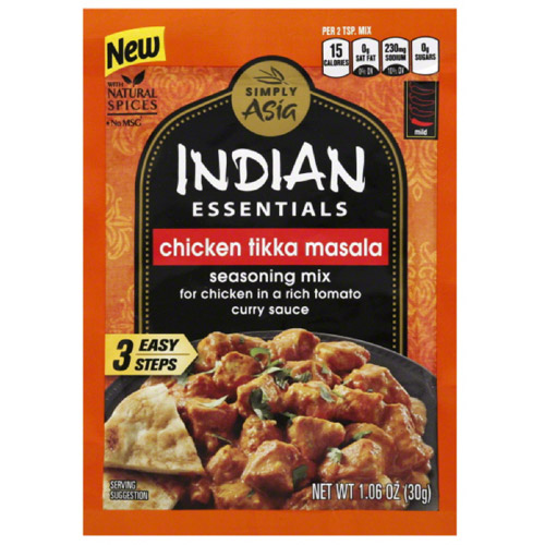 Simply Asia Indian Essentials Chicken Tikka Masala Seasoning Mix, 1.06 oz, (Pack of 12)